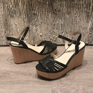 NWOT Seychelles Black Wedge Sandals